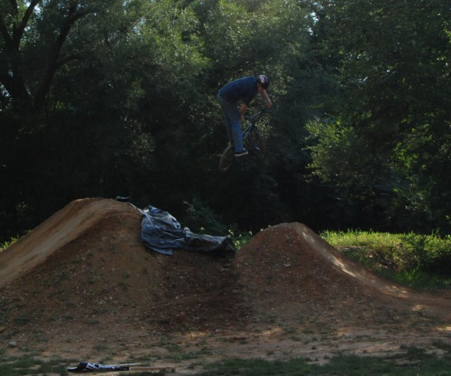 Andrew Fable - cross up one footed 360 over the last set.