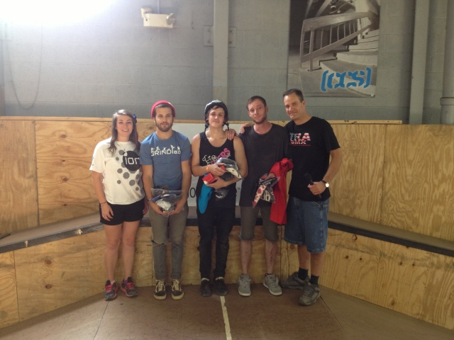 Expert Park winners:   Evan Smedley, Dan Pirwitz, and Matt Stampski with iON's Alaine Gordon and TRA's Mike Gentilcore.