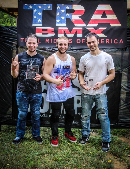 Expert Park Podium: 1st  place Jordan Prince (middle), 2nd place Todd Higer (left), and 3rd place Jason Schmuck (right).  (Photo: Troy Zeigler / Elevated Visuals)