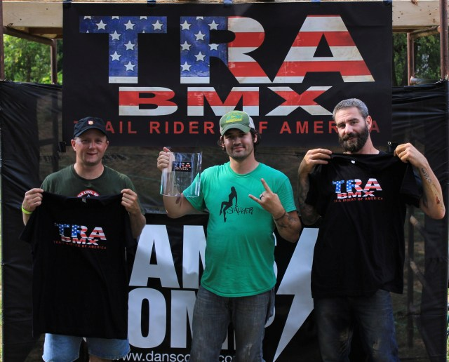 30 & Over Expert Dirt Podium:  1st Place Chuck Ware (Middle), 2nd Place Jon Arrigoni (right), and 3rd place Mike Brensinger (left).  (Photo: Nilo Hodge / ECD)