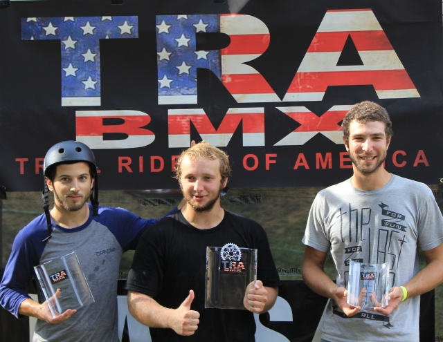 Expert Dirt Podium: 1st place Jordan Prince (middle), 2nd place Evan Smedley (left) and 3rd place James Hawkins (right).  (Photo: Nilo Hodge / ECD)