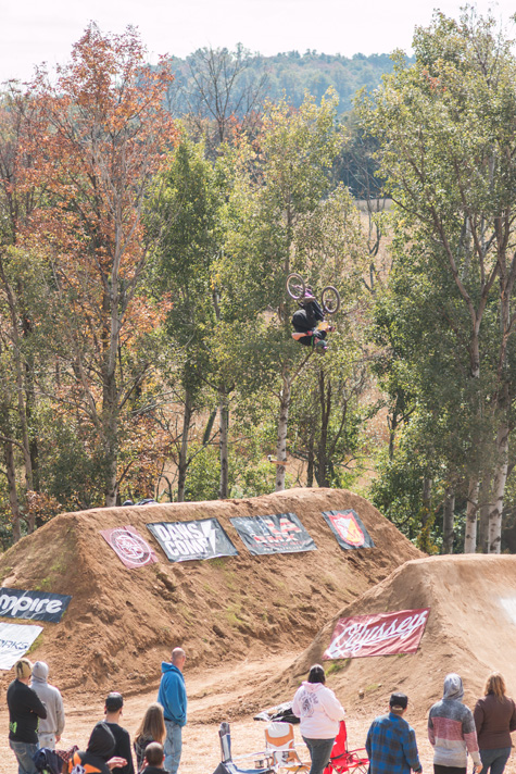 Nicholi Rogatkin ended this moto with the day's only front flip over the banger set.  Photo: Eric Silver