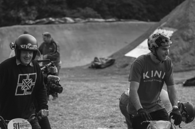 Van Homan and Chris Doyle, legends and smiles at the 2014 TRA Double Cross and Dirt Jump Comp.  Photo: Eric Silver
