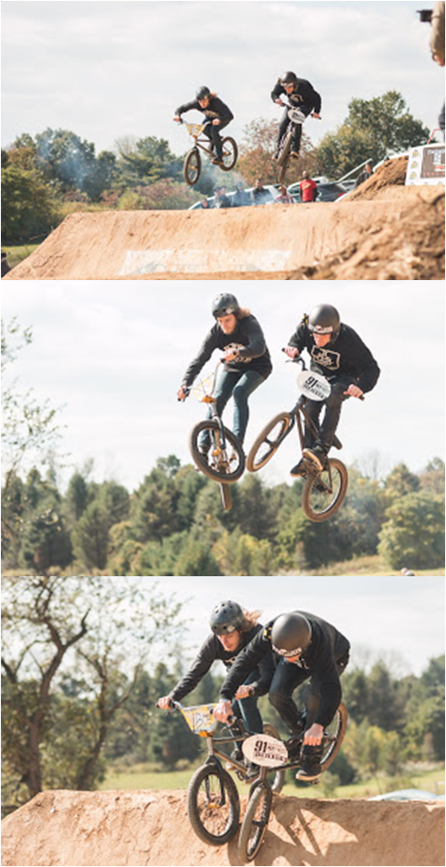 Chris Harti and Van Homan showing the crowd how tight the FIT BMX race team really rolls.  Photo: Eric Silver