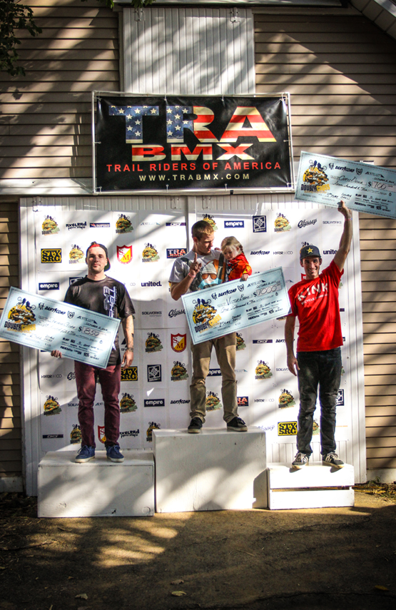 The 2014 TRA BMX Double Cross Podium - Victor Behm (1st), Steven Cisar (2nd) and Chris Doyle (3rd)    Photo: Troy Zeigler / Elevated Visuals