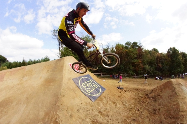 Former #1 NBL AA Pro Matt Kelty enjoying the future of BMX racing.  Photo: Al Cayne / Sugarcayne.com