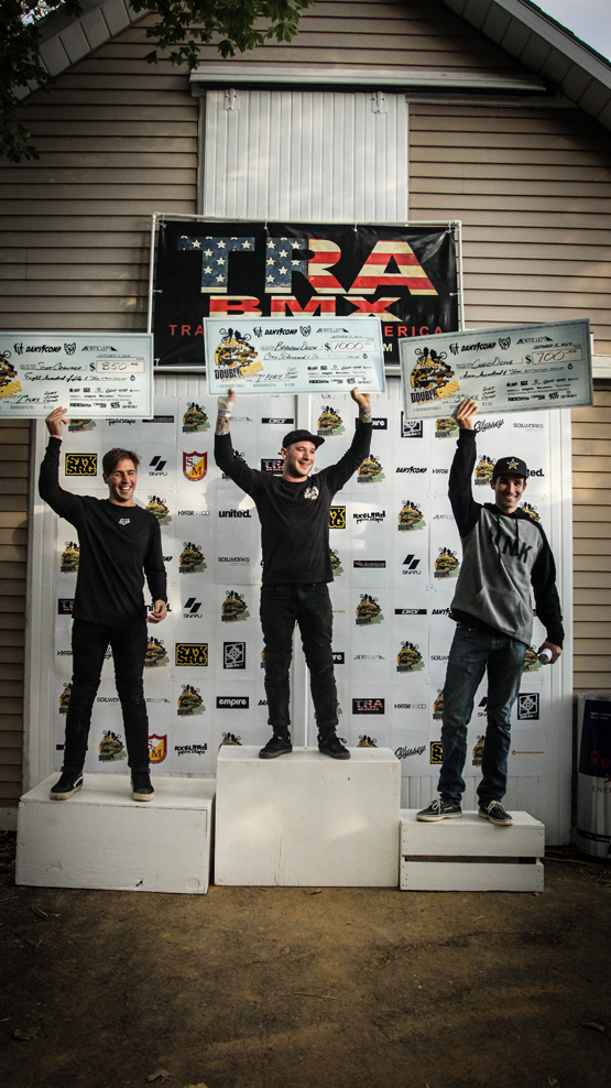 The 2014 TRA BMX Double Cross Podium - Brandon Dosch (1st), Scott Cranmer (2nd), and Chris Doyle (3rd)   Photo: Troy Zeigler / Elevated Visuals